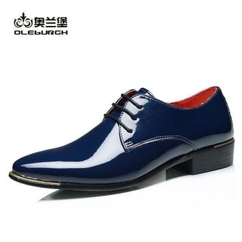 OLEBURGH Brand Derby Shoes Shoelaces Flat Leather Casual Men Dress Shoe Wedding Red Dress Men Dance Evening Male  Size 38-48