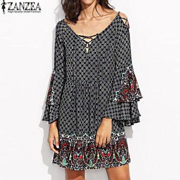 PEAP78W ZANZEA Sexy Women Floral Print Lace Up V Neck Casual Loose Ruffles Butterfly Sleeve Party Eveing Ladies Mini Dress Plus Size