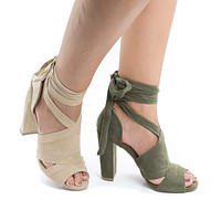 Morris28 by Wild Diva, Peep Toe D'Orsay Leg Wrap Block Heel Dress Sandals