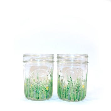 Hand Painted Flower Field Mason Jars
