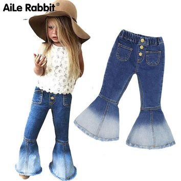 AiLe Rabbit  2018 Autumn INS Girls Jeans Popular Horns Denim Pants Fashion Wild Fall Essential Button Ghost Mermaid k1
