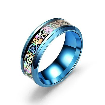Chinese colours Dragon Stainless steel Golden Ring for Men lord Wedding rings Band new punk ring jewelry