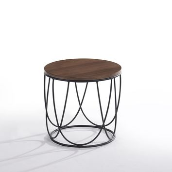 Modrest Strang Modern Walnut & Black Round End Table