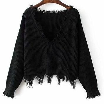 Gamiss Women Autumn Winter Knitted Distressed Sweaters Ripped V Neck Loose Female Short Pullovers Sweaters Femme Knit Jumper