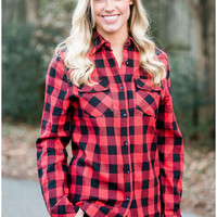 Red & Black Plaid Shirt with elbow patches