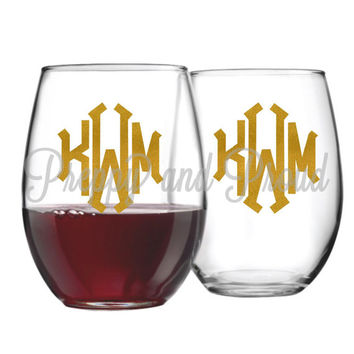 Two Monogrammed Stemless Wine Glass, Monogrammed Sticker, Monogram Decal, Wine Glass Monogram, Monogram, Monogrammed Decal, Monogrammed Wine