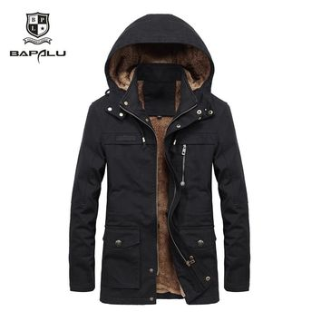 winter new jacket men's plus velvet washed casual jacket men's long windbreaker Hooded jacket coat large size M-4XL 5XL