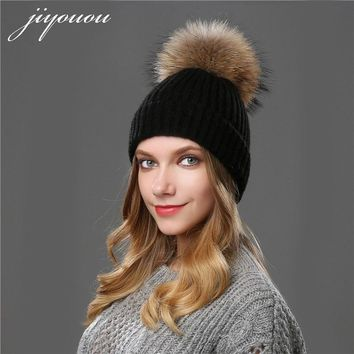 JIYOUOU 2017 beanie Solid color mink fur hats Ball Cap PomPom winter wool hat gorro feminino touca inverno Hats for girls