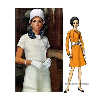 1960s VOGUE MoD DRESS PATTERN Vogue 2040 Molyneux Paris Original Day Cocktail Dress One-Piece Business Dress Womens Sewing Patterns Bust 36