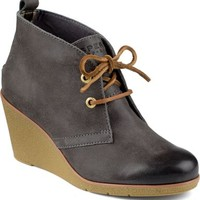 Sperry Top-Sider Harlow Burnished Leather Wedge Bootie Graphite, Size 5.5M  Women's Shoes