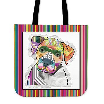 Collage Pup Pit Bull Linen Tote Bag - PROMO