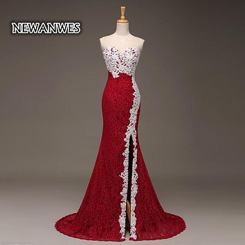 Red and White Lace Mermaid Prom Dress Side Slit Long Mermaid Formal Evening Dress Illusion Back Elegant Prom Dress