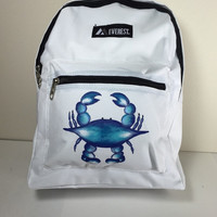 Child's White Everest Backpack Hand Painted Blue Crab