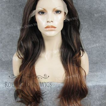 """26"""" Heat Safe Synthetic Lace Front """"Constance"""" with Curly Texture in Brown Ombre"""