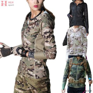 Women Camouflage Long Sleeve Hooded TShirt Urban Camo Mountain Running Outdoor Sports Hoodie Quick Dry Outwear Coat