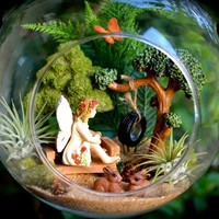 "Fairy Garden Terrarium Kit ~ 7"" Air Plant Terrarium Kit ~ Tire Swing  ~ Miniature Trees ~  Bunnies ~ Butterfly + Sand Color Choice ~ Gift"