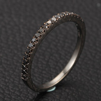 Half Eternity Band Pave .25ct Black Diamonds Solid 14K White/Yellow Gold /Rose Wedding Anniversary Ring