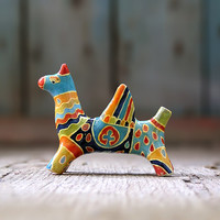 Griffon Totem miniature, mythological fantasy figurine, griffin, gryphon, home decor, multicolor, blue grey and yellow