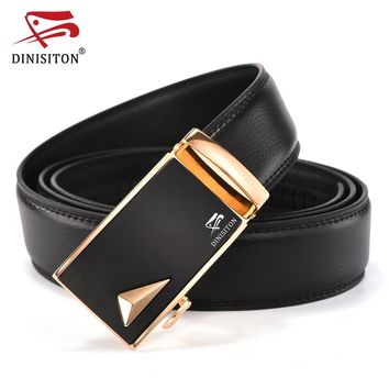 Designer Men Automatic Belts Split Genuine Leather Luxury Strap for Male Black Cantos