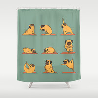 Pug Yoga Shower Curtain by Huebucket
