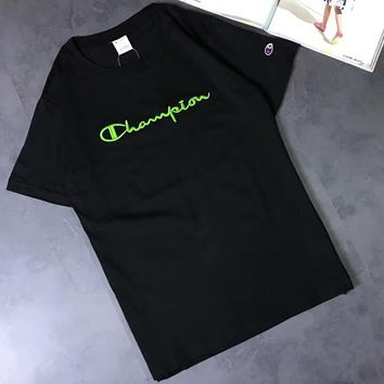 Champion Limited Couples Green Letter Embroidery Casual Short Sleeve F-AA-XDD