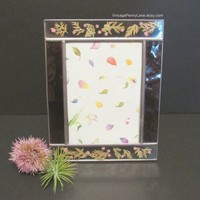 Vintage Handmade Picture Frame, Pressed Flower and Leaf / Purple Stained Glass