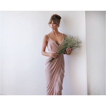 Blush pink bridesmaids maxi wrap dress