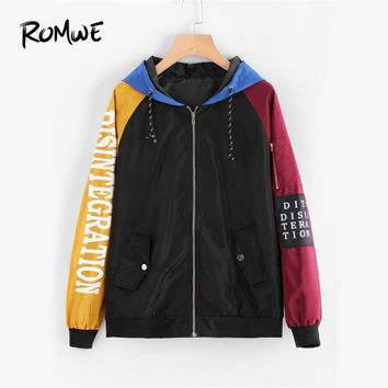 Trendy ROMWE Zipper Contrast Sleeve Letter Print Patch Detail Hooded Jacket 2018 Spring Autumn Female Multicolor Casual Sporty Coat AT_94_13
