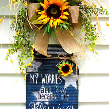 sunflower door sign, mason jar door hanger, floral door hanger, wreath for door, door decor, Christian signs, inspirational wall decor