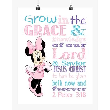 Minnie Mouse Christian Nursery Decor Print - Grow in Grace and Knowledge - 2 Peter 3:18