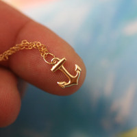 My Tiny Anchor 14K Gold Filled Charm Minimalist Necklace Jewelry.All 14k gold filled.