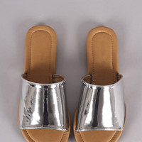 Metallic Single Wide Band Slip-On Sandal