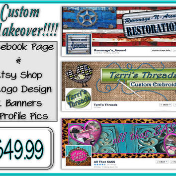 Etsy Shop Facebook Page Combo Package 2 Banners 2 Profile Pictures Avatar .jpg .png images graphic store design makeover business branding