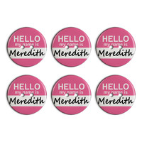 Meredith Hello My Name Is Plastic Resin Button Set of 6