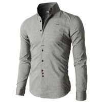 Doublju Premium Slim Fit Designed Button down Shirts KMTSTL0218