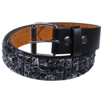 White Splatter Black Studded Belt