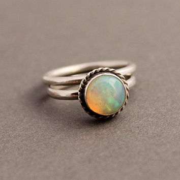 Ethiopian opal ring - Stackable ring - Round ring - Gemstone ring - Bezel ring - October birthstone - Birthday gift