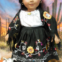Flores de Medianoche embroidery outfit for Josefina (18 inch doll) sequin dress OOAK for AMERICAN GIRL