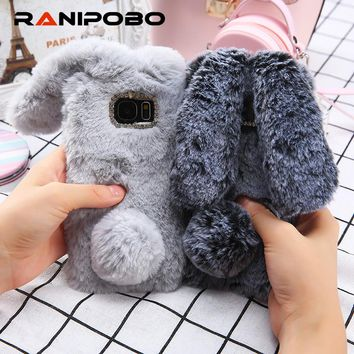 For Samsung Galaxy S8 / S8 Plus Case 3D Cute Rabbit Hairy Warm Fur Bling Rhinestone Plush Bunny Cover for GalaxyS8 For Girls