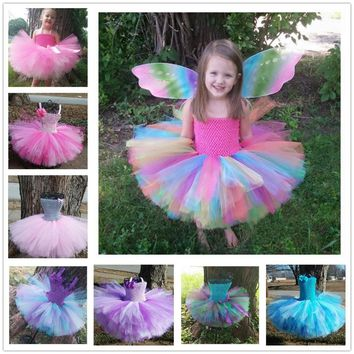 Colorful Girls Crochet Tutu Dresses Baby 2Layers Fluffy Corset Ballet Tutus with Grosgrain Bow and Headband Set Kids Party Dress