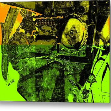 Pop Art Style Machine Gears Metal Print