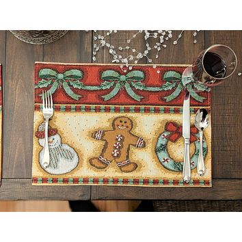"""DaDa Bedding Gingerbread Sweets Placemats, Set of 4 Holiday Tapestry 13"""" x 19"""" (12917)"""