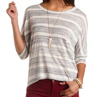 Marled Stripe High-Low Dolman Top by Charlotte Russe
