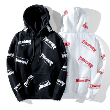 Thrasher wears a hooded bodysuit for both men and women