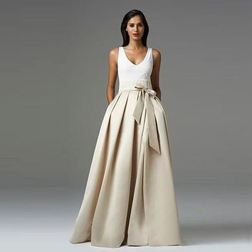Noble Ivory Maxi Skirts A Link Pleated Chic Invisible Zipper Floor Length Skirts 2016 Custom Made Formal Party Long Skirts