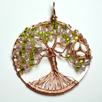 Wire wrapped Tree of Life Pendant Made with Pink and Green Seed Beads and Copper Wire with Bird's Nest