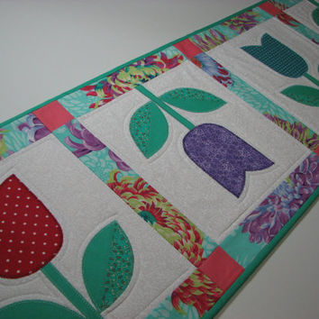 Quilted Table Runner , Springtime Tulips , Rose/Violet/Teal/Seafoam