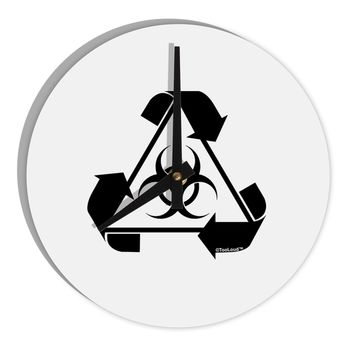 "Recycle Biohazard Sign Black and White 8"" Round Wall Clock  by TooLoud"