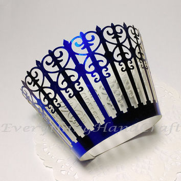Metallic Blue Picket Cupcake Wrapper | Cupcake Liner | Filigree Cake Wraps | Party Decorations Baby Shower Birthday Wedding 12pcs (CP02BU)