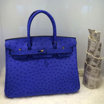 EMS Free Shipping Women Designer Beige Blue Hot Pink Ostrich Skin Handbags High Quality Classic 35CM Vantage Bags